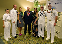 IC1 Brent Schermerhorn, second from left, and AWV1 David Matuska, second from right, pose for a photo with their spouses, Adm. Scott Swift, right, Fleet Master Chief Suz Whitman, left, and Medal of Honor recipient Charles Hagemeister following the  luncheon announcing the Sailors of the Year. (U.S. Navy/ MC1 Phillip Pavlovich)