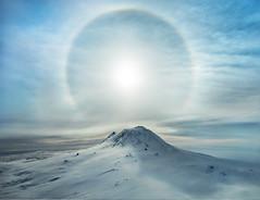 A Polar Sunbow Erupts Over An Iced Volcano, Antarctica [OC] [5222x4011]