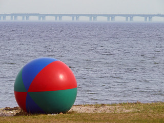 Beach of Nyborg with the Great Belt Fixed Link in the horizon