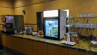 Salad, Snacks, and Soda in Alaska Lounge at LAX