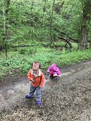 Sawyer and Madeleine play on the C&O Trail this weekend