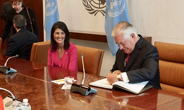 Secretary Tillerson Signs UN Secretary-General Guterres' Guestbook Before Their Bilateral Meeting at the United Nations in New York City