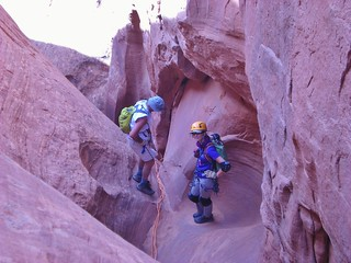 Byron and Erin Setting a Multi-Stage Rappel