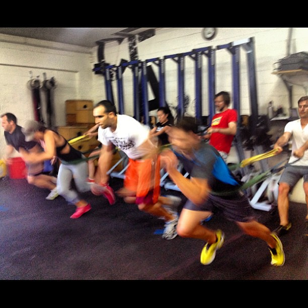 Partner band sprints. #competitionday #warmup #crossfit