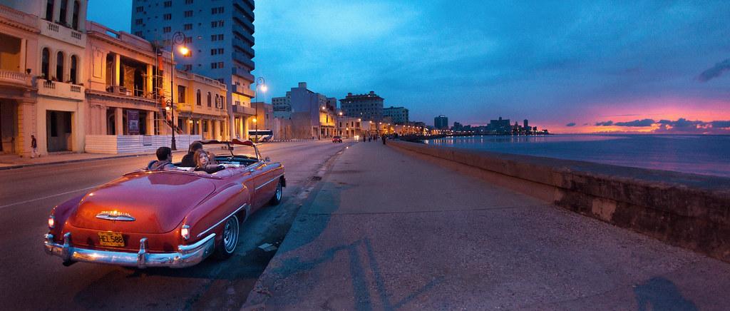 Blue Sunset Sky Car Azul Atardecer Model Havana Cuba Modelo Sidewalk Cielo Malecon Carro Habana Horizont