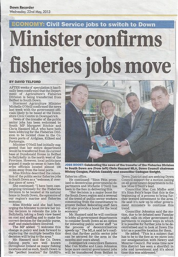 29th May Chris Hazzard MLA confirms fisheries jobs