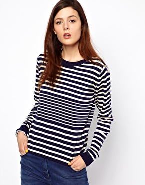 Knitted Stripe Jumper with Button Shoulder Detail