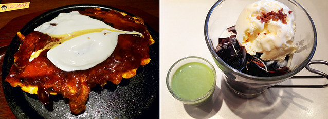 okonomiyaki and green tea coffee jelly affogato