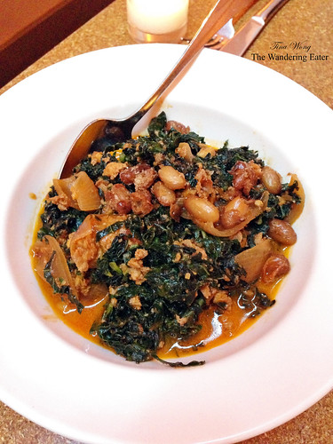 Braised Cavolo Nero with chorizo, cranberry bean, beer