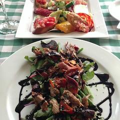 Italian lunch in Tunbridge Wells. Duck salad and anti pasti.