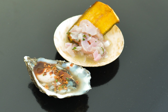 Frontera Grill/Red O fresh shucked oyster ceviche with plantain chip