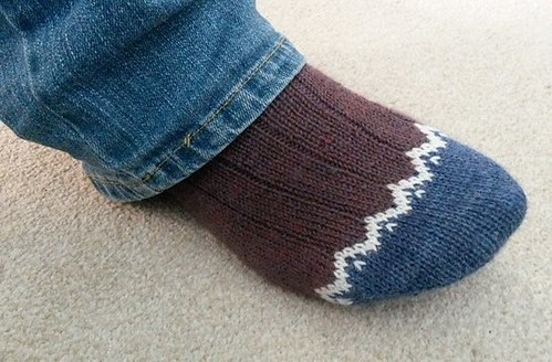 Border Socks - on the foot!