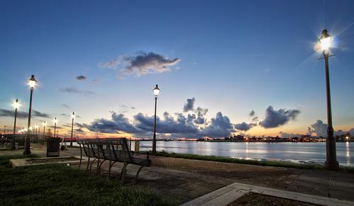 urban sunrise river landscape dawn louisiana streetlamps neworleans mississippiriver parkbench hdr bigeasy canonefs1022mmf3545usm neworleansriverwalk gaylonkeeling