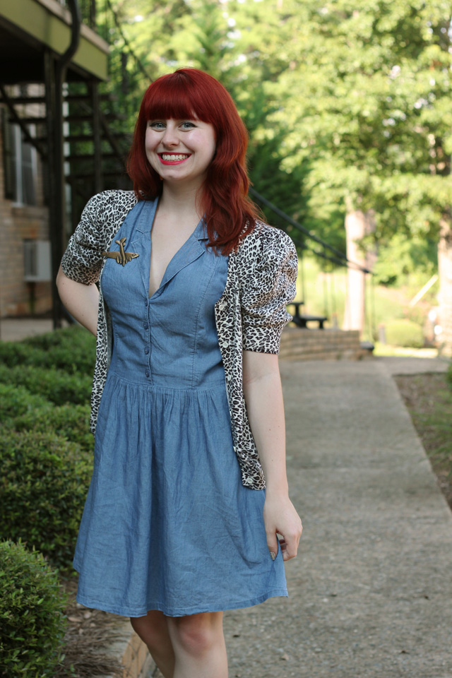 Denim Chambray Dress & Leopard Print Cardigan