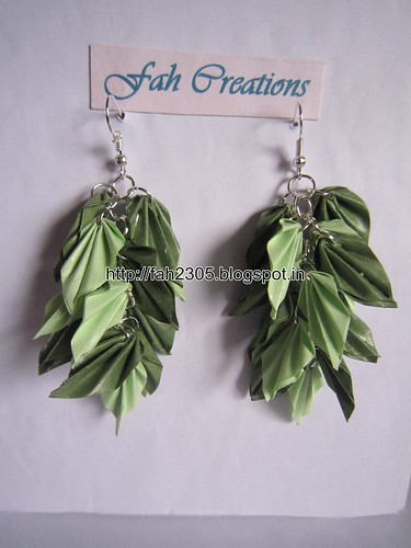 Handmade Jewelry - Origami Paper Leaves Earrings (12) by fah2305