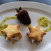 Kiwi s'mores, almond cookies, marshmallow, chocolate & kiwifruit coulis