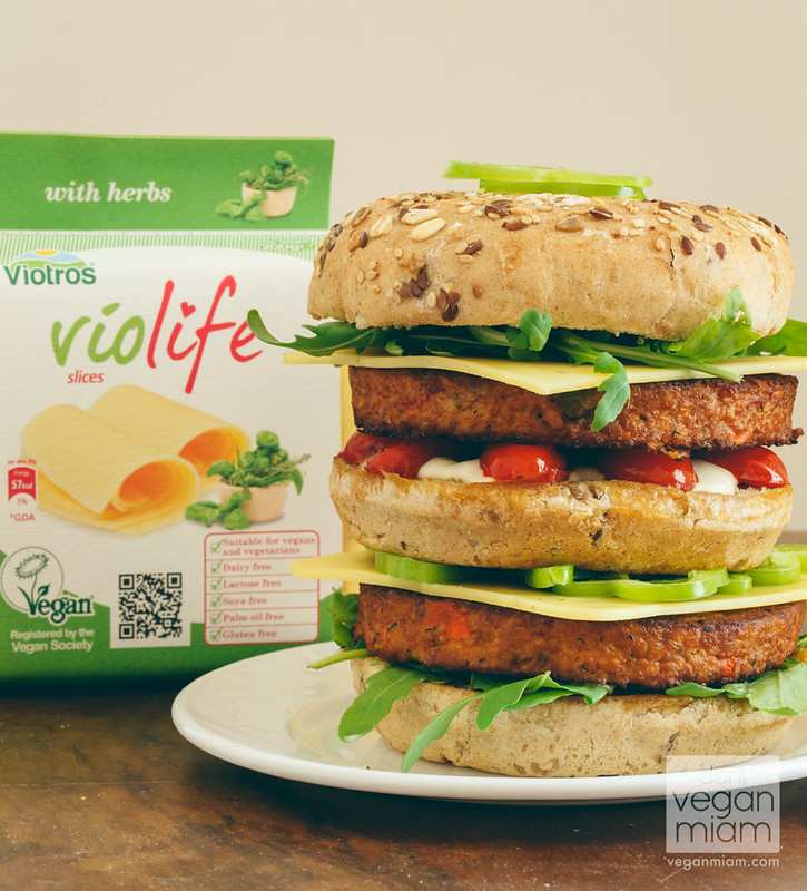 Vegan Monster Burger with Violife Vegan Herb Cheese
