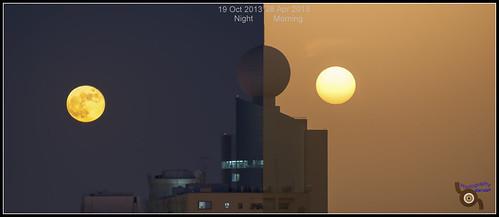 morning sun moon building night sunrise day moonrise sharjah unitedarabemirates combined commonpoint