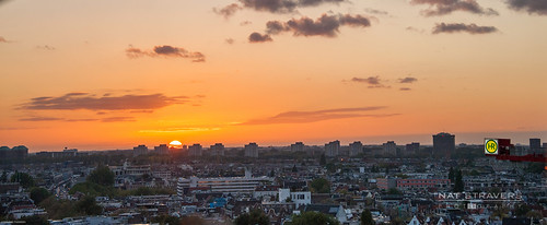 Sunset over Amsterdam city 26 oct 2013