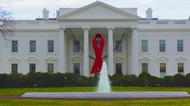 World AIDS Day - Red Ribbon on the White House Portico 33931 from Flickr via Wylio