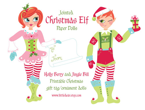 Jointed Christmas elf paper dolls!