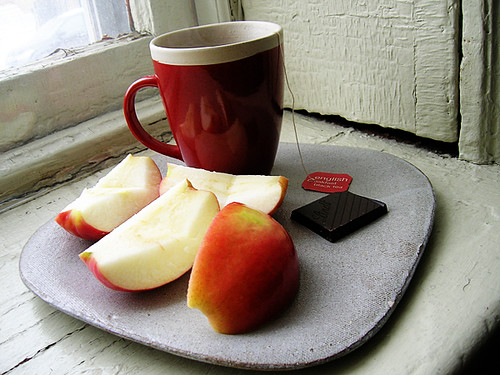 black tea, chocolate, and apple
