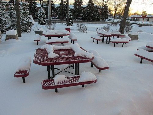 "The outdoor patio dining area at a Mc Donald's fast food restaurant.  Niles Illinois.  Thursday, January 2nd, 2013. (Definately the ""Off Season."") by Eddie from Chicago"
