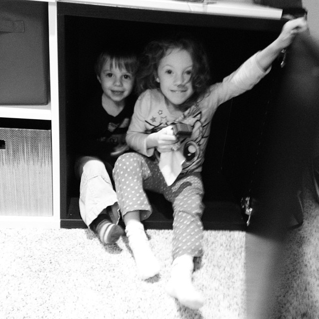 They are hiding from monsters. #seemslegit #siblings #stevensonpartyof5