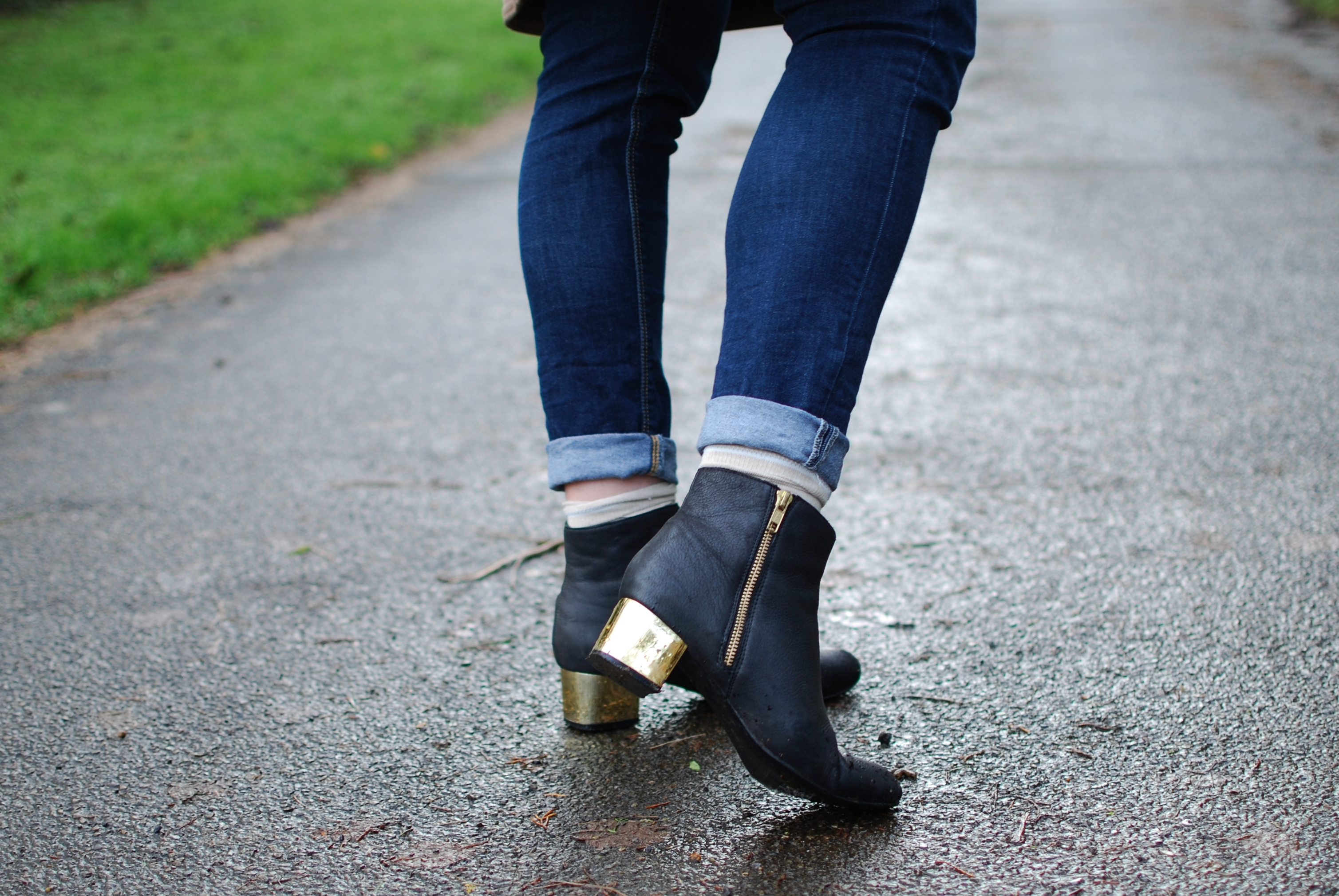 chambray and curls gold heeled ankle boots