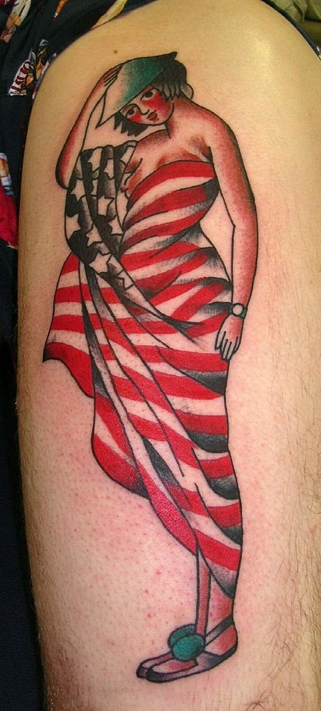 Traditional Wwi Flag Pinup Tattoo By Krooked Ken At Black Anchor