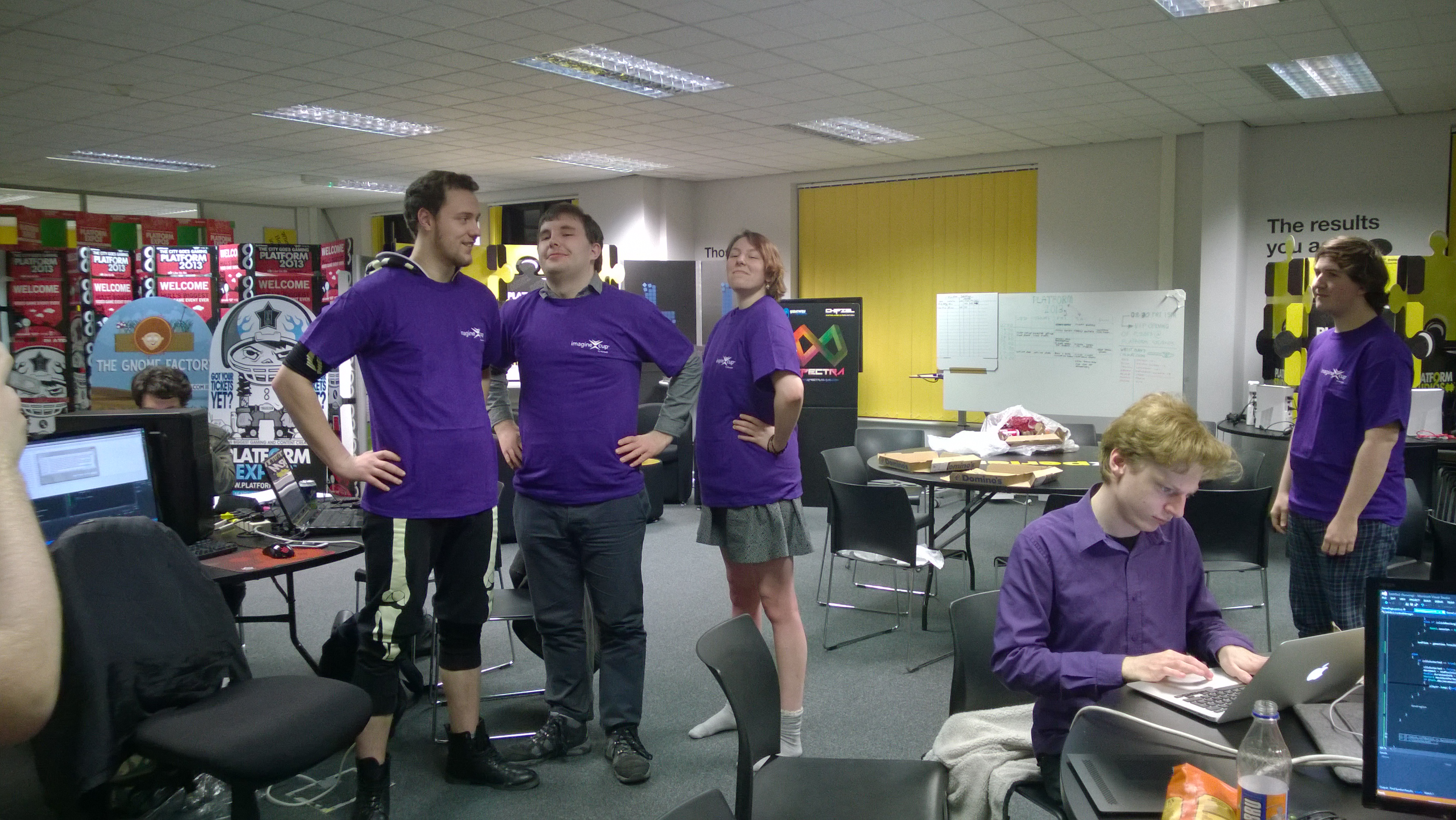 Showing off the amazing Imagine Cup t-shirts