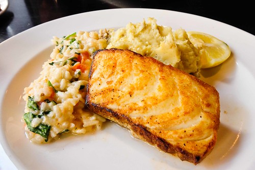 Halibut, Lobster Risotto, Mashed Potatoes