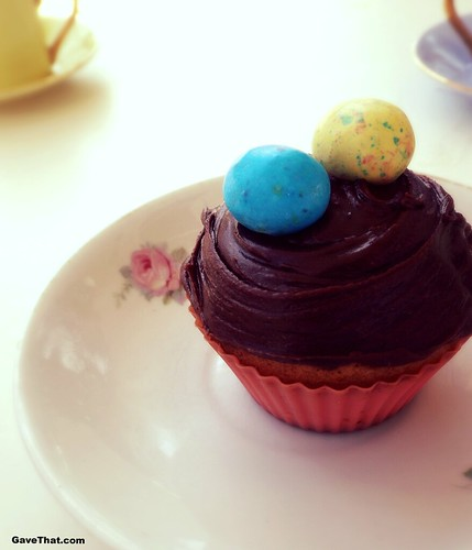 Peanut Mocha frosted Easter Cupcake with malted Robins Eags