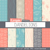 "Digital paper dandelions: ""Dandelions"" with dandelion patterns for scrapbooking, invites, cards by workyourart"