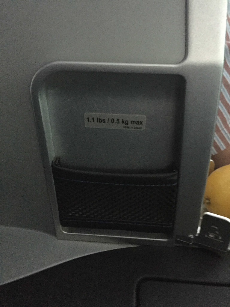 Side pocket on JetBlue Mint Class