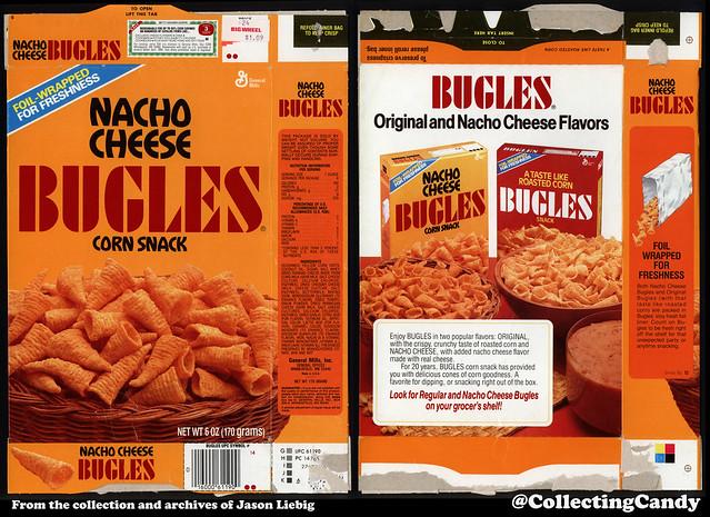 General Mills - Bugles Nacho Cheese corn snack - 6oz snack food package box - 1986-87
