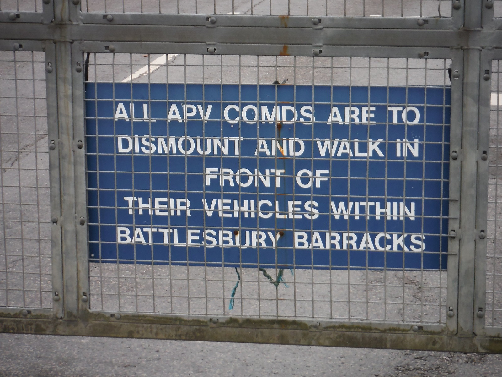 Sign on Entrance Gate, Battlesbury Barracks SWC Walk 286 Westbury to Warminster (via Imber Range)