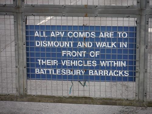 Sign on Entrance Gate, Battlesbury Barracks