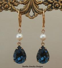 Vintage Crystal Earrings ~ Pearl Drop Earrings ~ Vintage Blue Swarovski Crystal Earrings ~ Bridesmaids Earrings ~ Bridesmaids Wedding Jewelry Bridal Brides Earrings ~ Blue Crystal Drop Earrings