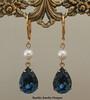 Pearl Drop Earrings ~ Blue Swarovski Crystal Earrings ~ Bridesmaids Earrings ~ Bridesmaids Wedding Jewelry Bridal Brides Earrings ~ Blue Crystal Drop Earrings