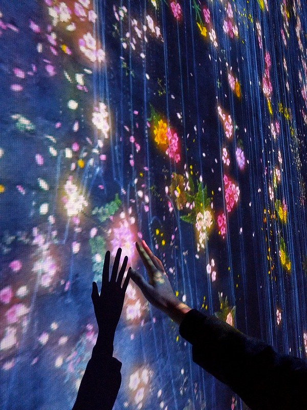 A hand amongst virtual flowers, Pace Gallery
