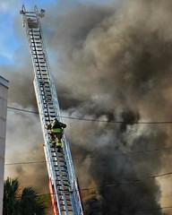 Fully Involved...  #fullyinvolved #fully #involved #fire #firefighter #call #emergency #firetruck #fireengine #tarponspringsfirerescue #tarponsprings #florida #tarpontaphouse #smoke #ladder #laddertruck #truck #climbing #scaling #christophermcguirkphotogr