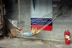 happy boy in a hammock