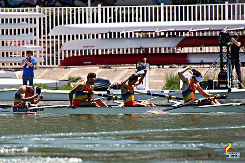 El Cuatro sin timonel ligero español en el Europeo de Sevilla. ©Pasaporte Olímpico