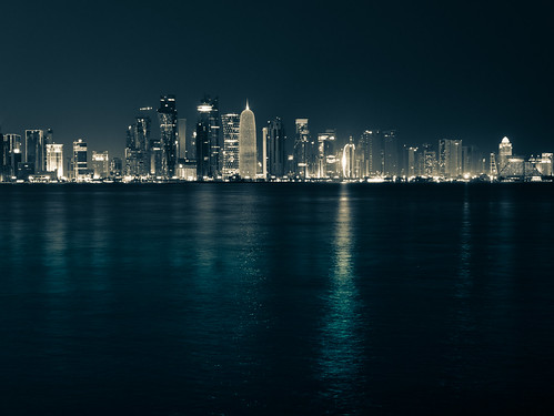 Doha skyline by night