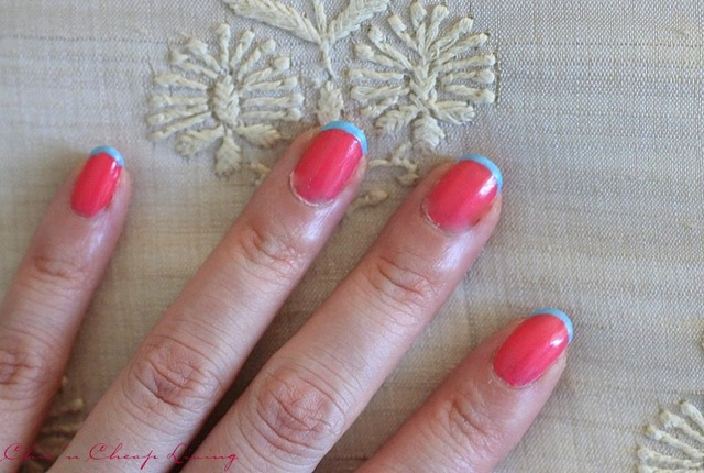 Summer French manicure using Sally Hansen Get Juiced and Chanel Coco Blue on pillow - saved by Chic n Cheap Living