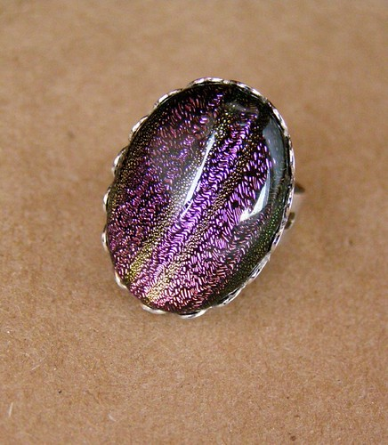 Ring - rainbow dreams. Dichroic glass.