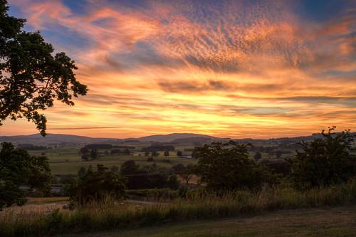 sunset field scotland hills hdr dumfries