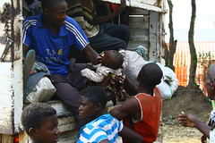 New refugees arrive in the truck, Bubukwanga transit center, Uganda