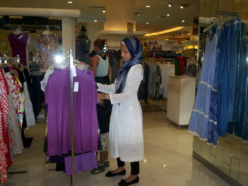 At the mall, Yogyakarta, hijab style, street style, Muslim fashion, white dress, silver striped hijab